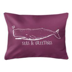 Vintage Whale Christmas Lumbar Coastal Pillow - Plum