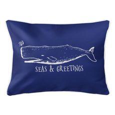 Vintage Whale Christmas Lumbar Coastal Pillow - Dark Blue