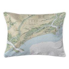 Kiawah Island, SC Nautical Chart Lumbar Coastal Pillow