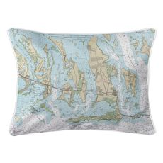 Ramrod, Torch & Big Pine Key, FL Nautical Chart Lumbar Coastal Pillow