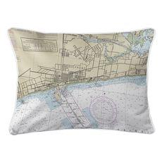 Gulfport, MS Nautical Chart Lumbar Coastal Pillow