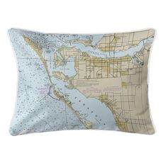 Bradenton, FL Nautical Chart Lumbar Coastal Pillow