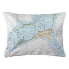Cape Hatteras, NC Nautical Chart Lumbar Coastal Pillow