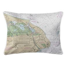 Cape May, NJ Nautical Chart Lumbar Coastal Pillow