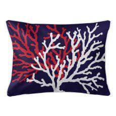 Coral Duo On Navy Lumbar Pillow