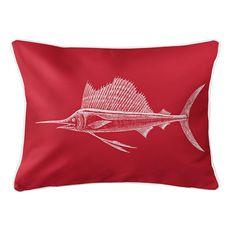 Sailfish Red Lumbar Coastal Pillow