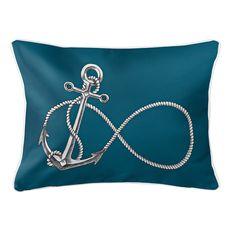 Infinity Anchor Teal Lumbar Coastal Pillow