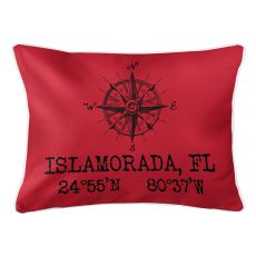 Custom Compass Rose Coordinates Lumbar Pillow - Red