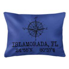 Custom Compass Rose Coordinates Lumbar Pillow - Blue