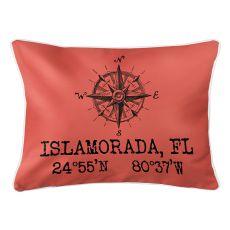 Custom Compass Rose Coordinates Lumbar Pillow - Coral
