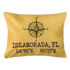 Custom Compass Rose Coordinates Lumbar Pillow - Yellow