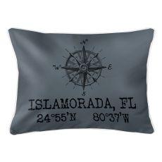 Custom Compass Rose Coordinates Lumbar Pillow - Gray