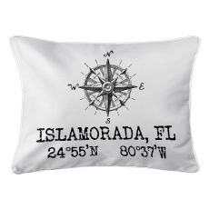Custom Compass Rose Coordinates Lumbar Pillow - White