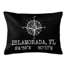 Custom Compass Rose Coordinates Lumbar Pillow - Black