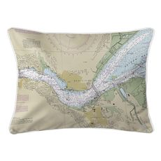 Benicia, CA Nautical Chart Lumbar Coastal Pillow