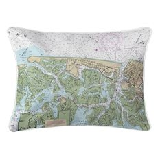 Brigantine, NJ Nautical Chart Lumbar Coastal Pillow