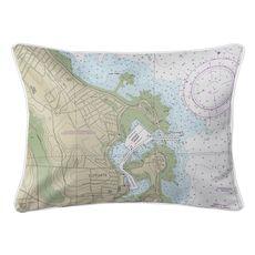Scituate Harbor, MA Nautical Chart Lumbar Coastal Pillow