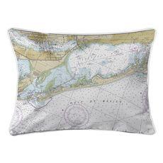 Longboat Key, FL Nautical Chart Lumbar Coastal Pillow