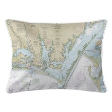 Beaufort Inlet, Core Sound, NC Nautical Chart Lumbar Coastal Pillow