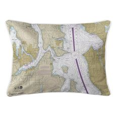 Bremerton, Bainbridge Island, Seattle, WA Nautical Chart Lumbar Coastal Pillow