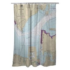 Hampton Roads, Newport News, VA Nautical Chart Shower Curtain