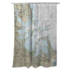 Boston Harbor, MA Nautical Chart Shower Curtain