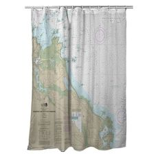 Cohasset and Scituate Harbors, MA Nautical Chart Shower Curtain