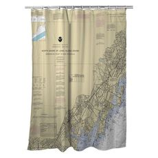 New Rochelle, Mamaroneck, Port Chester, NY Nautical Chart Shower Curtain