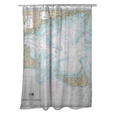 Nantucket Sound and Approaches, MA Nautical Chart Shower Curtain
