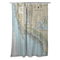 Chatham River to Clam Pass, FL Nautical Chart Shower Curtain