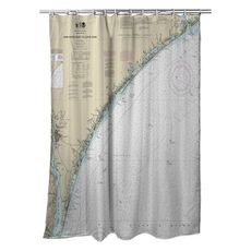 New River Inlet to Cape Fear, NC Nautical Chart Shower Curtain