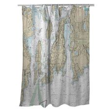 Conanicut Island, Aquidneck Island, RI Nautical Chart Shower Curtain