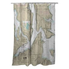 Bremerton, Bainbridge Island, WA Nautical Chart Shower Curtain