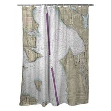 Seattle, Elliott Bay, WA Nautical Chart Shower Curtain