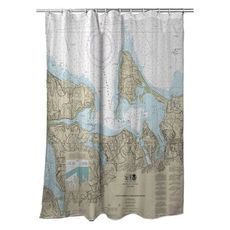 Huntington Bay, NY Nautical Chart Shower Curtain