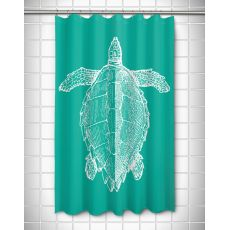 Vintage Sea Turtle Shower Curtain - White on Aqua