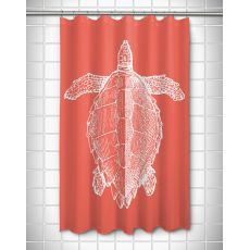 Vintage Sea Turtle Shower Curtain - White on Coral