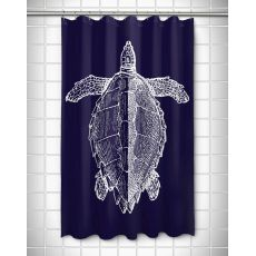 Vintage Sea Turtle Shower Curtain - White on Navy
