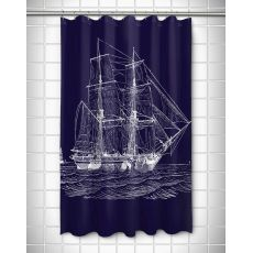 Vintage Ship Shower Curtain - White on Navy