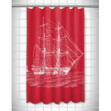 Vintage Ship Shower Curtain - White On Red