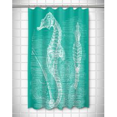 Vintage Seahorse Shower Curtain - White on Aqua