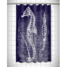 Vintage Seahorse Shower Curtain - White On Navy