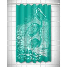 Vintage Egrets Shower Curtain - White on Aqua