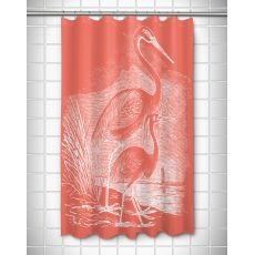 Vintage Egrets Shower Curtain - White on Coral