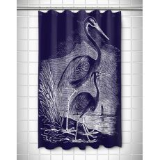 Vintage Egrets Shower Curtain - White on Navy
