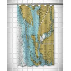 FL: Sanibel Island & Pine Island, FL Nautical Chart Shower Curtain