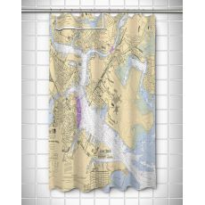 MA: Boston, MA Nautical Chart Shower Curtain