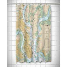 SC: Charleston, SC Nautical Chart Shower Curtain