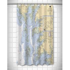 MD-VA: Chesapeake Bay, MD-VA Nautical Chart Shower Curtain