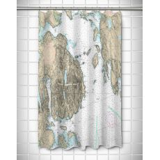ME: Frenchman Bay, Mount Desert Island, ME Nautical Chart Shower Curtain